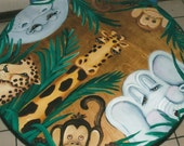 JUNGLE Table and two Chairs with stained background or table and two chairs with stained background to match room theme.