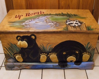 Up North Black Bear Toy Box, kids furniture , wooden chest, hand made, hand painted