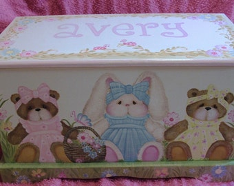 Daisy Garden Toy Chest  with  Bunny and Teddy  Bears Custom Design done with Monogram or Name, kids furniture, art and decor, wooden toy box
