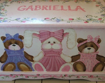 Teddy Bear and Bunny Dress-Up Toy Box  done with Monogram or Name, kids furniture, art and decor, wooden toy box