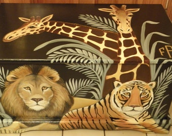 Custom Jungle Safari Toy Chest with Monogram or Name, kids furniture, art and decor, wooden toy box