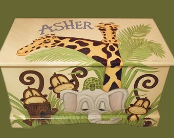 Jungle Toy Chest custom designed with a soft yellow background done with Monogram or Name, kids furniture, art and decor, wooden toy box