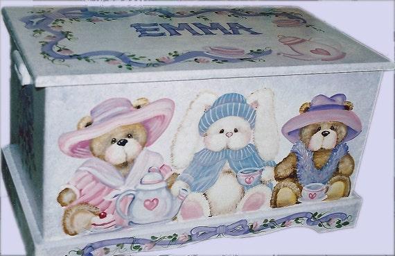 TEDDY BEAR and BUNNY Teaparty Toy Box