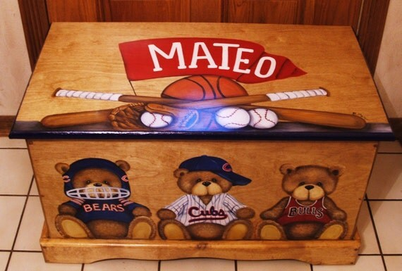 Custom wooden Teddy Bear TOY BOX, Kids Furniture, Toy chest Personalized Sports Teams, hand made and hand painted