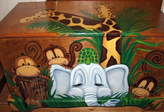 Jungle Toy Chest Custom Designed done with Monogram or Name, kids furniture, art and decor, wooden toy box