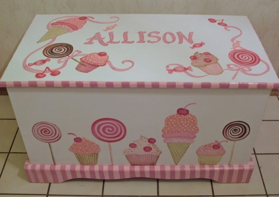 SWEETIE... CUSTOM DESIGNED Toy  Chest designed  from your wallpaper border, picture etc.