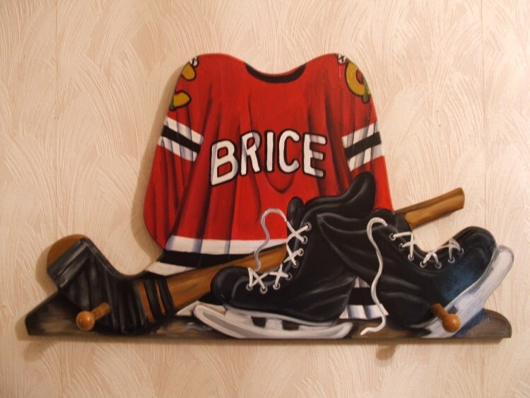 custom hockey jersey wall hanging with 2 by originalsbybarbmazur. Black Bedroom Furniture Sets. Home Design Ideas