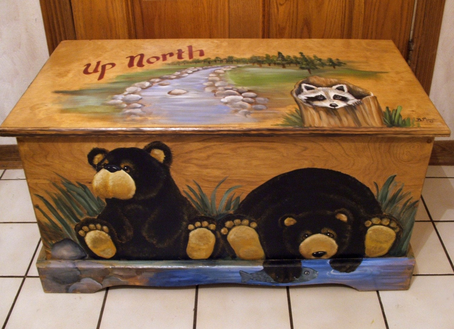 Best Toy Boxes And Chests For Kids : Up north black bear toy box kids furniture wooden chest
