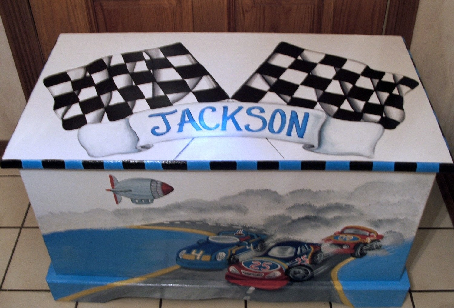 RACE CAR Toy Box Toy Chest Custom Designed kids room decor