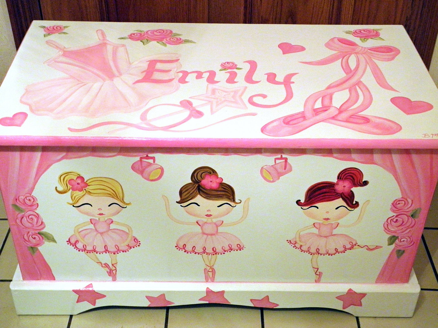 Ballerina Toy Box Personalized Custom designed hand painted