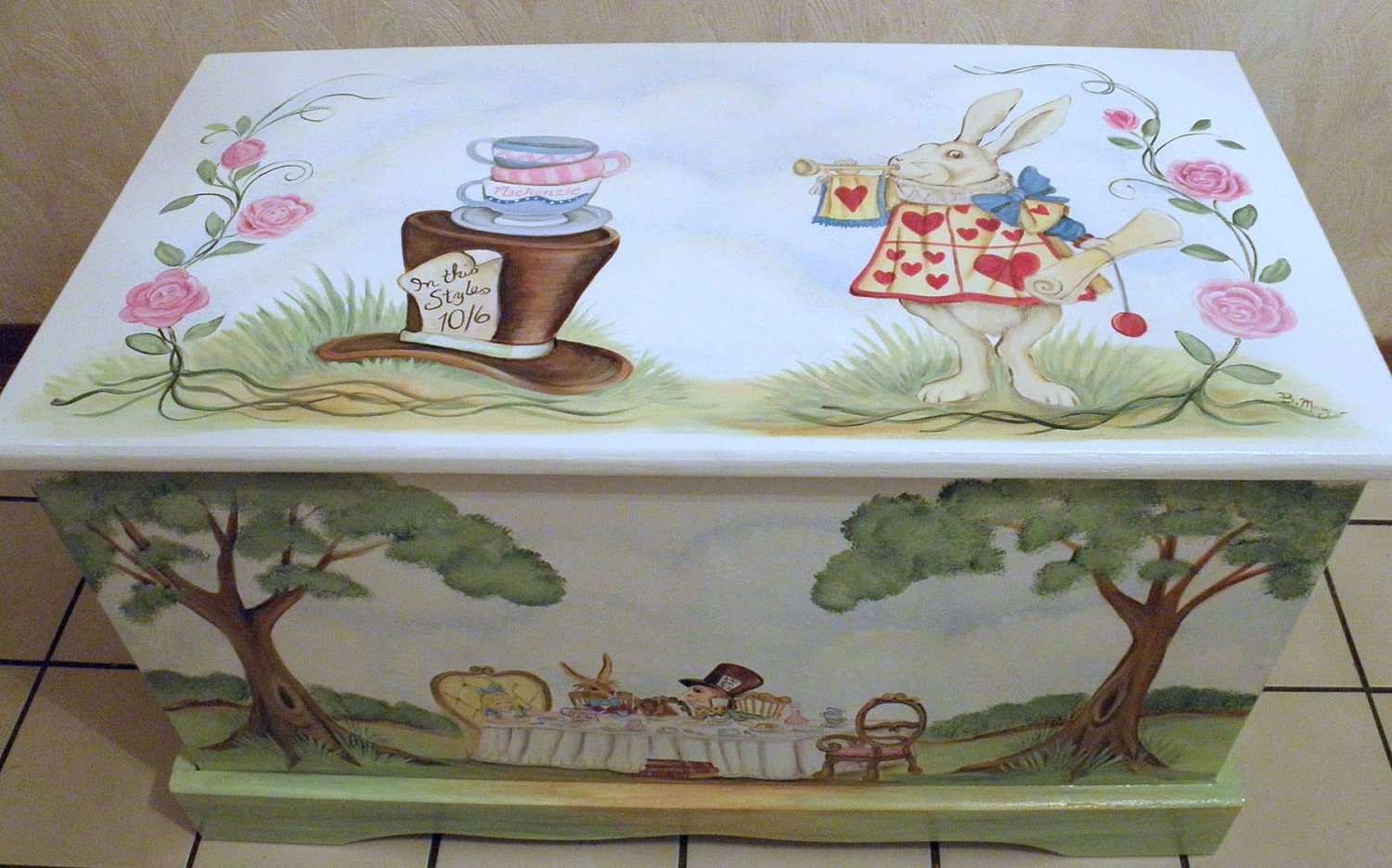 Custom personalized tea party toy box inspired by alice in zoom negle
