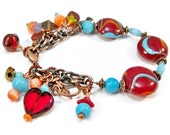Turquoise and Red Bracelet, Lampwork Bead Bracelet, Turquoise Red Jewelry, Copper Chain Bracelet, Lampwork Bead Jewelry, Charm Bracelet