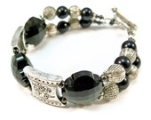 Black and Silver Crystal Beaded Bracelet Ladies Double Strand OOAK
