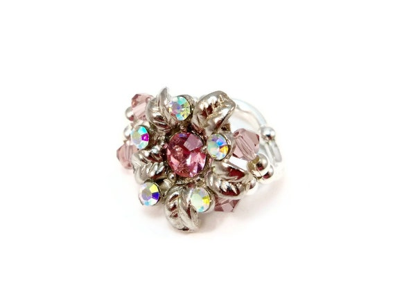 Cocktail Ring Stretch Band Pink Crystal for Women OOAK