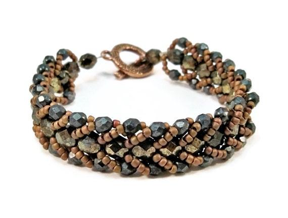 Beaded Bracelet Czech Glass Womens Copper Brown Black Fall Colors