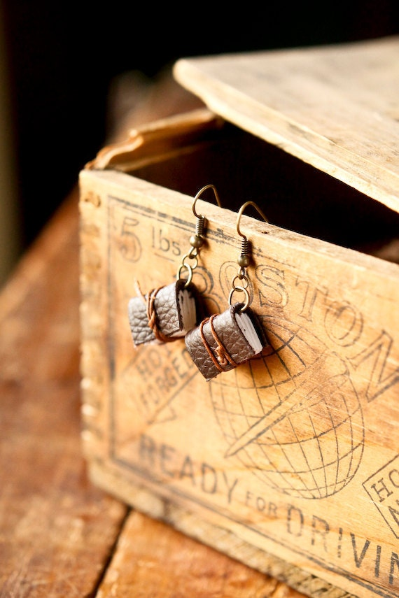 Mini Leather Journal Earrings - Brown Book Earrings