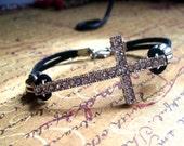 Black Suede Leather Cord Sideways Cross Bracelet