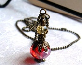 Perfume Jar Bottle, Czech Glass, Red, Gold, Antique Brass with Ball Chain Necklace -Made From Beads