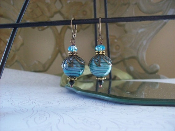 SALE-Swirled glass Lampwork Earrings-Antiqued Brass-Turquoise