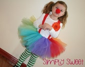 3 Piece Clown Tutu Set - Tutu, Suspenders and Flower Clip - MEDIUM (3-4 Years) - 3rd 4th Birthday, Halloween Costume, Circus