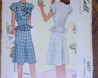 Juniors Two Piece Dress McCall 6477 1940s Size 15