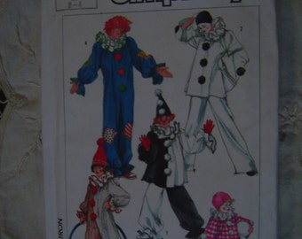 Clown Costume Childrens Simplicity 7649 Size 2 - 4