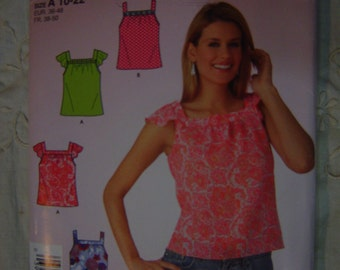 Easy Summer Top Square Neck Cap Sleeve 10 12 14 16 18 20 22 Simplicity 4123