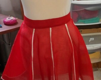 Red Half Apron Vintage 8 Gored with White & Red Trim