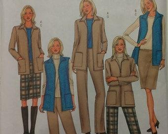 Casual Lifestyle Wardrobe Jacket Vest Pants Skirt 8 10 12 Butterick 3665