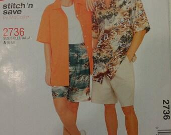 Easy Men Women Camp Shirt Small and Medium McCalls 2736