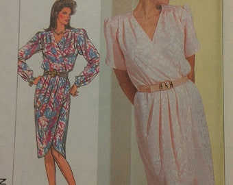 Ladies Mock Wrap Dress Tulip Shaped Hem and Sleeve Variations Size 8 Simplicity 7888