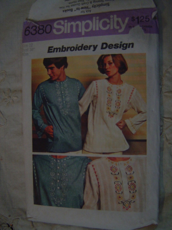 SALE Pullover Ethnic Caftan Kaftan Tunic Top Shirt with Embroidery Simplicity 6380 Size 12