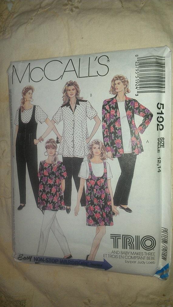 Maternity Dress Shirt Pants Jumpsuit Romper Top Blouse Sizes 12 14 McCalls 5192
