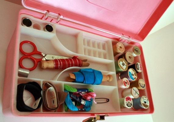 Vintage Pink Sewing Kit Filled with Goodies