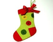 Mini Stocking:  Holiday Red and Green Christmas Stocking/Ornament