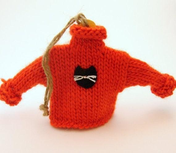 Black Cat:  Halloween Mini Sweater Ornament