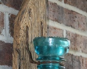 Barn Wood Recycled Candle Sconces with Large Blue Vintage Glass Insulator