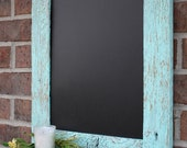 Rustic Aqua Reclaimed Barn Wood Chalkboard with a Shelf Perfect for Your Home, Office, or Wedding