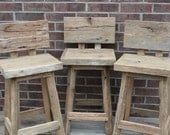 "YOUR Custom Order Handmade Bar Stools with Backs with 24"" - 28"" Seats"