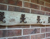 Reclaimed Vintage Sage Green Barn Wood with 4 Double Coat Hooks