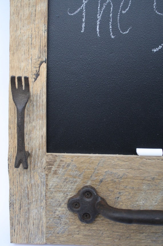 Barn wood Chalkboard with a Towel Bar and Fork and Spoon