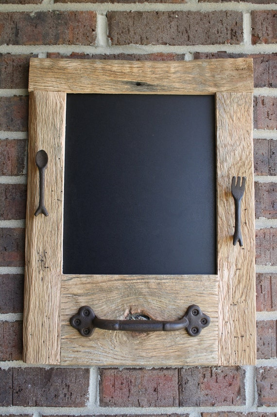 Reclaimed Barn Wood Chalkboard with a Towel Bar and Fork and Spoon Perfect for Your Home, Office, or Wedding