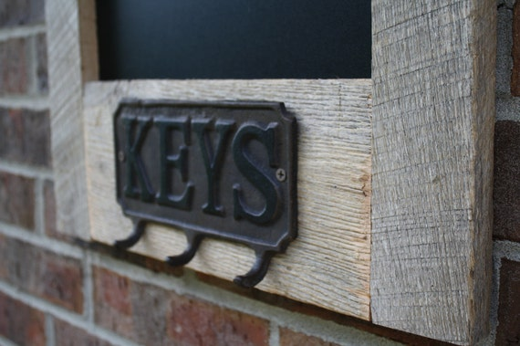 Recycled and Reclaimed Natural Barnwood Chalkboard with Key Holder