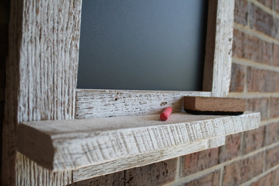 Rustic White Reclaimed Barn Wood Chalkboard with a Shelf Perfect for Your Home, Office, or Wedding