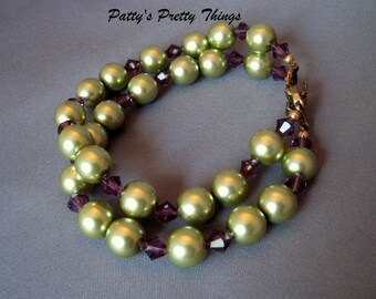 Green and Purple Double Strand Bracelet