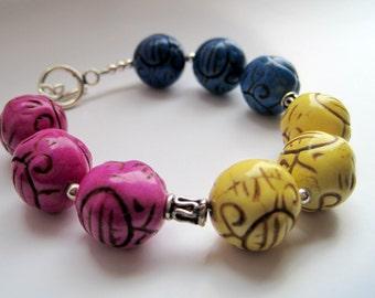 Carved Magnesite Color Block Bracelet