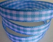 5 Yards of Blue 'n' White Don't Be Square Gingham Checkered Satin Finish Ribbon for for Hair Bows, Scrapbooks, Cards, Etc.