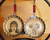 Vintage Comic Book Earrings Superhero Woman and Robot