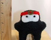 Tiny Eco Ninja Pocket Plushie LESS THAN 4 INCHES Black with Red Head band