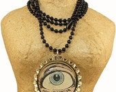 Recycled Vintage Comic Book Eye of Aquaman Necklace